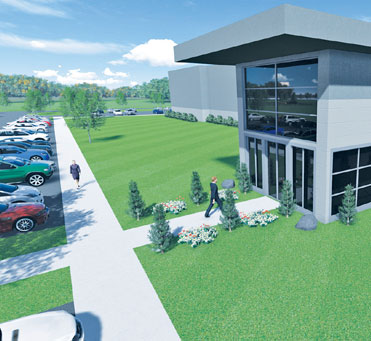 A rendering of the 300,000 s.f. Data Center for TVA, which will sit on a 47-acre section of the Highlands Business Park